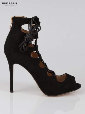 Czarne wiązane szpilki gladiatorki lace up