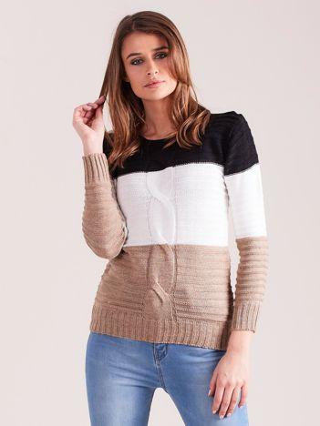 Czarno-beżowy sweter w szerokie pasy