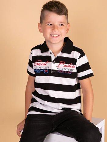 Czarno-biała koszulka polo dla chłopca TOMMY LIFE