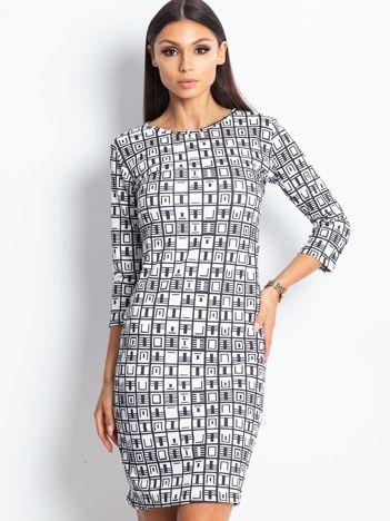 Czarno-biała wzorzysta sukienka tuba