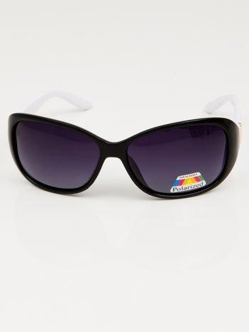 Czarno-białe SPORTOWE POLARYZACYJNE okulary damskie +miekkie etui i ściereczka gratis