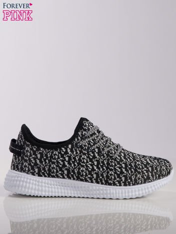 Czarno-białe marmurkowe buty sportowe pattern z tkaniny z uchwytem z tyłu na białej podeszwie