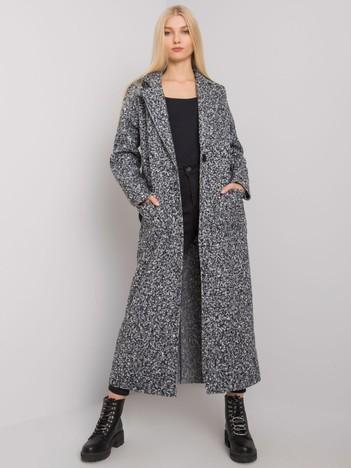 Czarno-biały damski płaszcz z paskiem Merve OCH BELLA