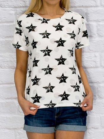Czarno-biały t-shirt w gwiazdy