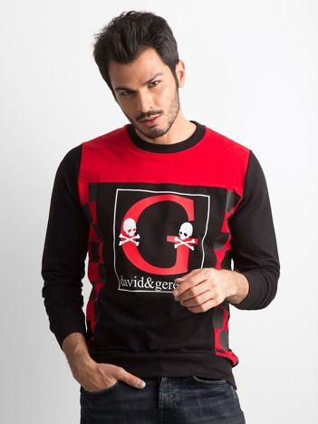Czarno-czerwona bluza męska z nadrukiem