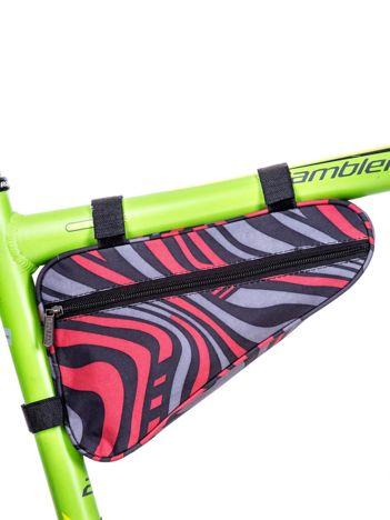 Czarno-czerwona saszetka rowerowa w kolorowe desenie