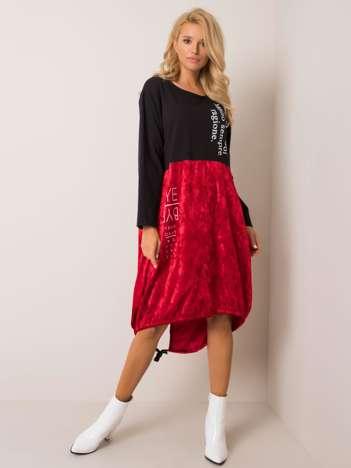 Czarno-czerwona sukienka Alvia