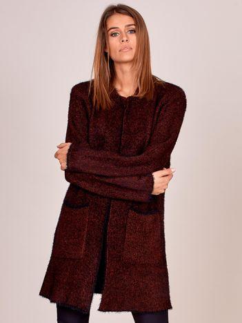 Czarno-czerwony długi sweter z kieszeniami