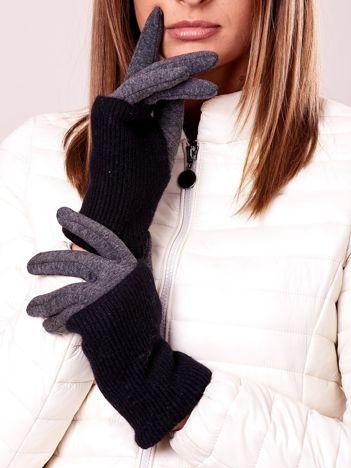 Czarno-grafitowe rękawiczki z ociepleniem i wełną