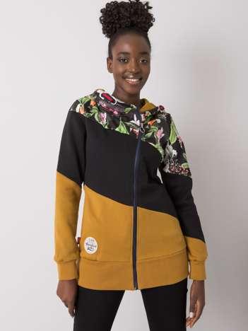 Czarno-musztardowa rozpinana bluza z kapturem Leah