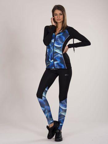 Czarno-niebieski dwuczęściowy komplet fitness