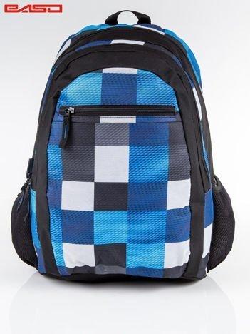 Czarno-niebieski plecak szkolny motyw kratki