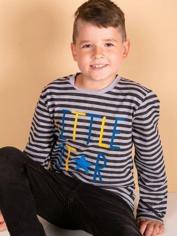 Czarno-szara bluzka dziecięca w paski z napisem