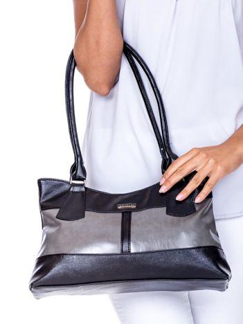 Czarno-szara trapezowa torebka damska na ramię