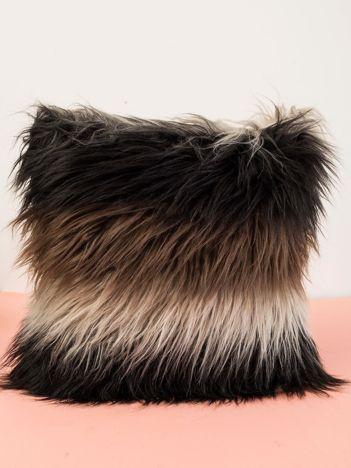 Czarno-szara włochata poduszka dekoracyjna