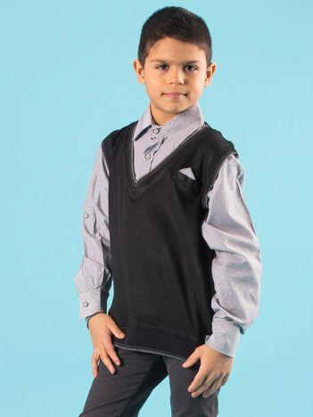 Czarno-szary sweter chłopięcy z koszulą