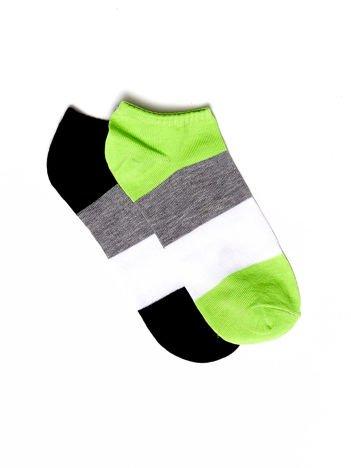 Czarno-zielone skarpetki damskie stopki w paski 2-pak