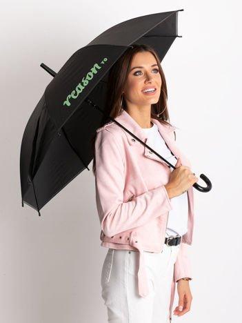 Czarno-zielony parasol z nadrukiem