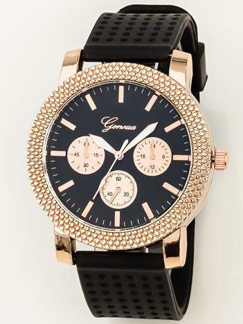 Czarno-złoty duży zegarek damski z ozdobnym chronometrem, na silikonowym wygodnym pasku