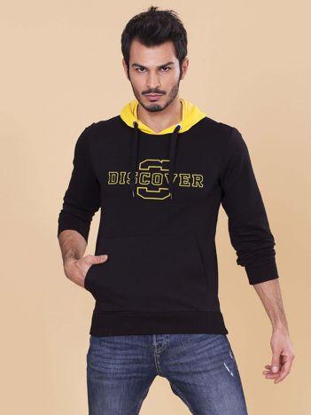 Czarno-żółta bluza dla mężczyzny z kapturem i troczkami
