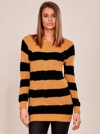 Czarno-żółty sweter damski w paski