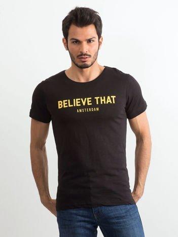 Czarny bawełniany t-shirt męski z napisem
