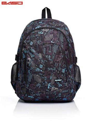 Czarny chłopięcy plecak szkolny  w graficzne wzory