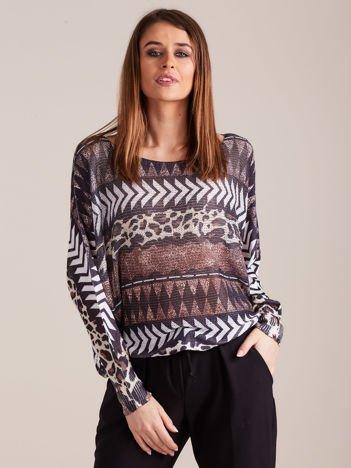 Czarny cienki sweter we wzory