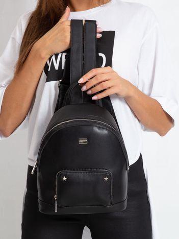 Czarny damski plecak z ekoskóry