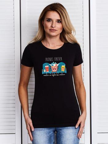 Czarny damski t-shirt z kinowym nadrukiem popcornu
