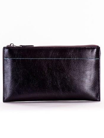 Czarny długi portfel kopertówka na zamek