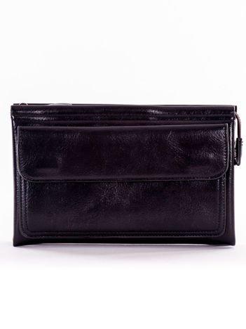 Czarny duży portfel kopertówka z kieszenią na magnesy