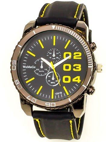 Czarny duży zegarek męski na silikonowym wygodnym pasku z żółtymi wstawkami