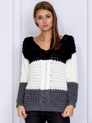 Czarny-ecru modułowy sweter