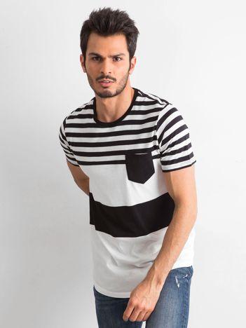 Czarny-ecru t-shirt męski w paski