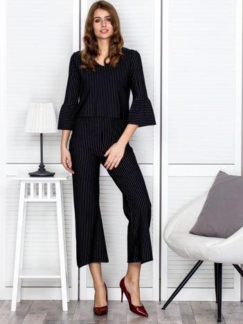 Czarny komplet spodnie i bluzka w paski