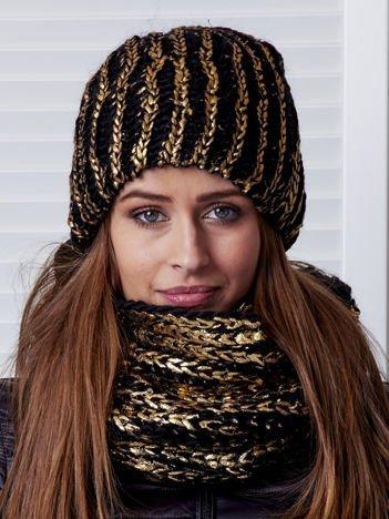 Czarny komplet ze złotym połyskiem czapka i komin