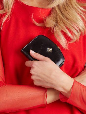 Czarny mały portfel z portmonetką na bigiel