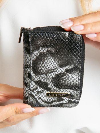 Czarny mały skórzany portfel damski