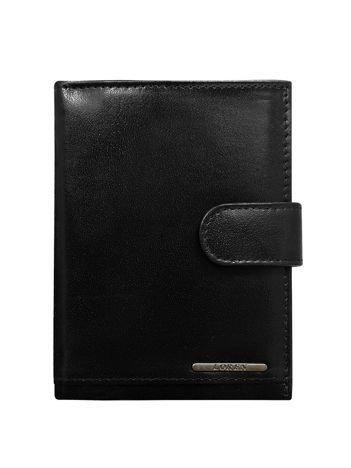 Czarny męski portfel ze skóry pionowy