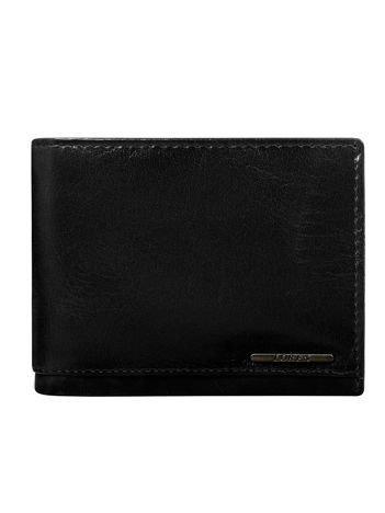 Czarny męski portfel ze skóry z ochroną RFID