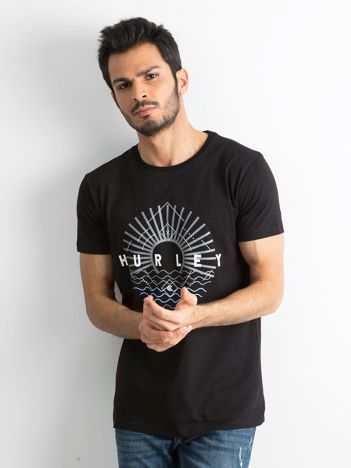 Czarny męski t-shirt z bawełny