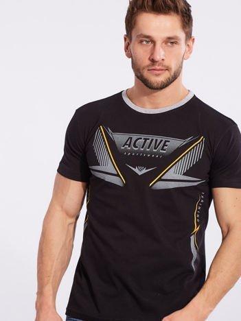 Czarny męski t-shirt z printem