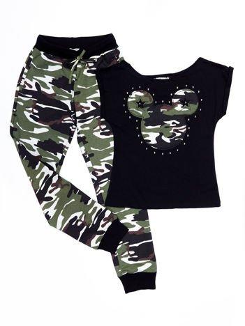 Czarny-moro komplet dziecięcy t-shirt i spodnie dresowe