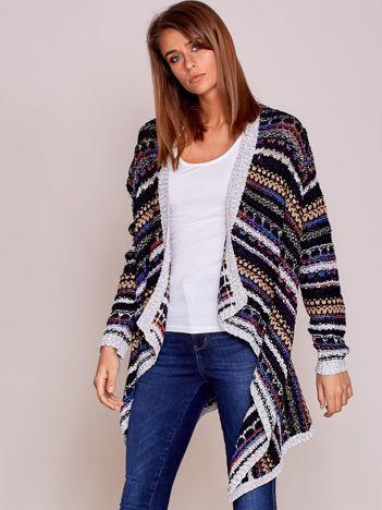 Czarny niezapinany sweter z kolorową nicią