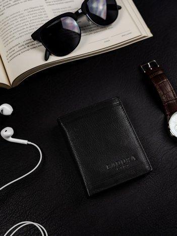 Czarny pionowy portfel męski BADURA