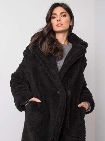 Czarny płaszcz z eko futra Alessandra RUE PARIS