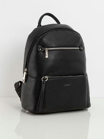 Czarny plecak damski z kieszeniami