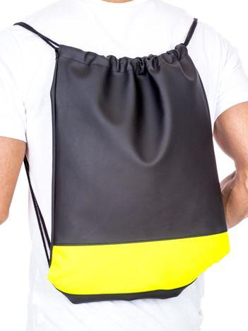 Czarny plecak worek z żółtą wstawką