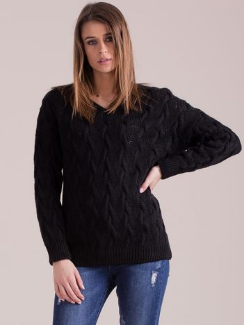 Czarny pleciony sweter